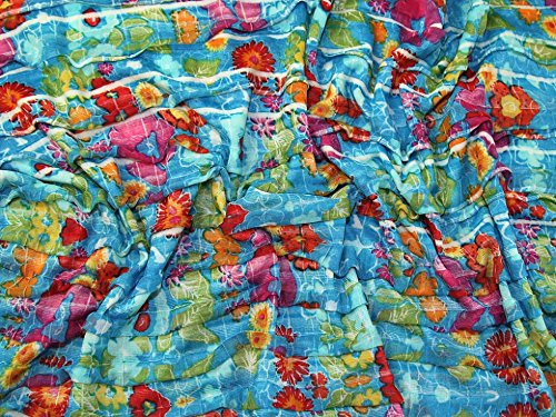 Minerva Crafts Floral Print Frills Jersey Knit Dress Fabric Turquoise - per metre