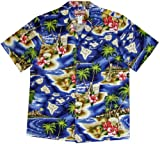 RJC Mens Hibiscus Hawaiian Islands Shirt NAVY BLUE 2X