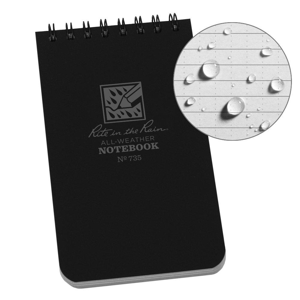 Rite in the Rain Weatherproof Top-Spiral Notebook, 3'' x 5'', Black Cover, Universal Pattern (No. 735)