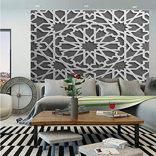 SoSung Traditional House Decor Huge Photo Wall Mural,Historic Moroccan Heraldic Empire Interlace Form with Mix of Star Flowers,Self-Adhesive Large Wallpaper for Home Decor 108x152 inches,Grey ()