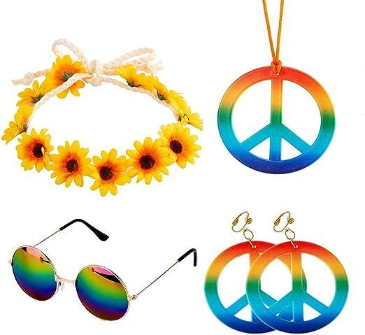 Complementos Hippie 5 piezas Conjunto de Disfraces de Hippie ...