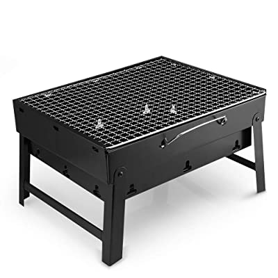 DQM Portable Lightweight BBQ Charcoal Grill, Folding Barbecue Grill Tools, for Outdoor Grilling Cooking Camping Hiking Picnics Tailgating Backpacking Party: Home & Kitchen