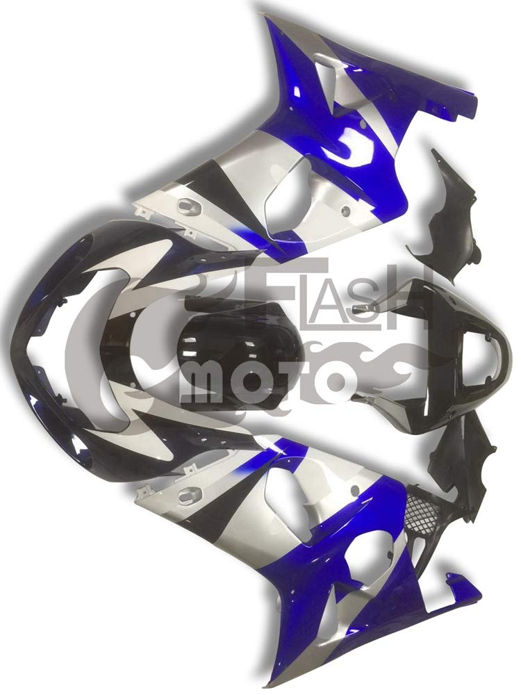 FlashMoto suzuki 鈴木 スズキ GSX R600 R750 2001 2002 2003用フェアリング 塗装済 オートバイ用射出成型ABS樹脂ボディワークのフェアリングキットセット (ブルー,シルバー)   B07M9KRFBX