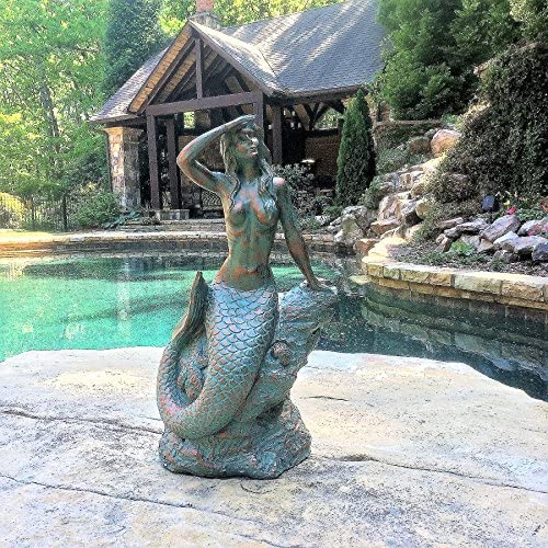 16 in. Classic Mermaid Sitting on Nautical Rock Looking Out to Sea Bronze Patina Finish Beach and Pool Statue
