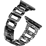 Fintia Stainless Steel Jewelry Watch Strap Replacement Band Wristbands Compatible for Apple Watch iWatch Series 5/4/3/2/1 Smartwatch