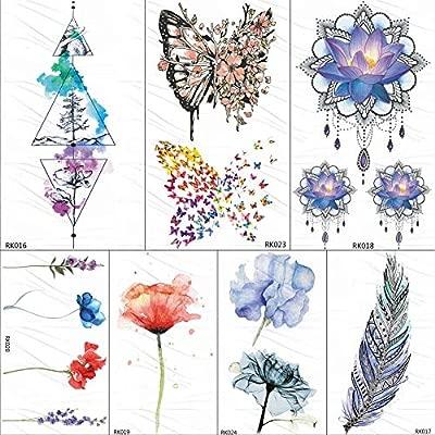 KAMRL Tatuaje Falso Tatuaje Montaña Geométrica Tatuajes Temporales ...