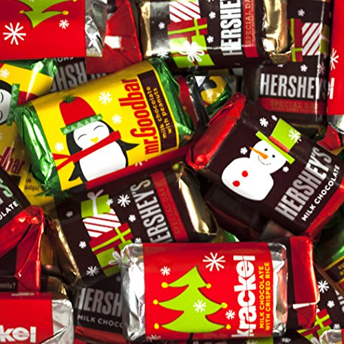 Bulk Christmas Chocolates - Hershey's Miniatures Christmas Assortment - Hershey Bars, Mr. Goodbars, Hershey's Special Dark, and Krackel - 5 lb