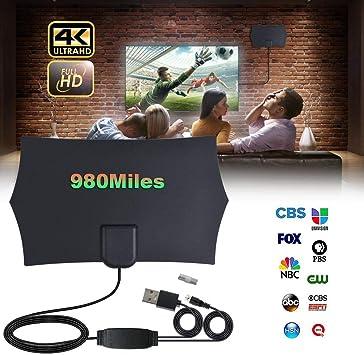 Seasaleshop Antena de TV para Interiores, Antena máxima de 980 Millas de Alcance con Amplificador de señal Booster VHF/UHF, Compatible con Smart TV HD 4K 1080P: Amazon.es: Electrónica