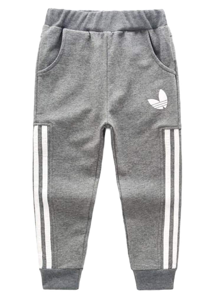 Mallimoda Boy's Casual Cotton Sweatpants Sport Elastic Waist Jogger Trousers Grey 3-4 Years