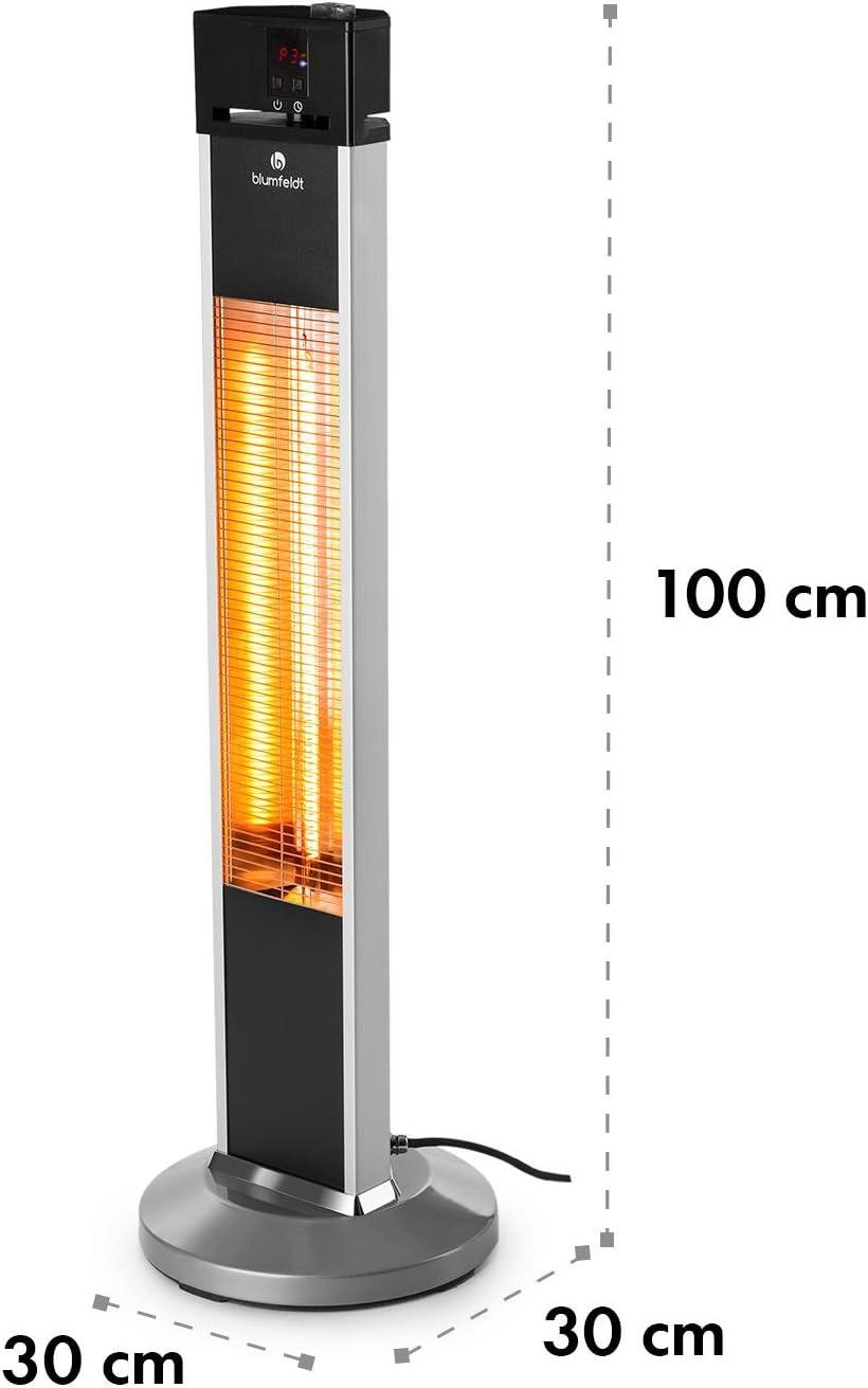 Mando MAX 2000 W Calefactor de pie Alto Rendimiento 3 Niveles Eficiente IP34 Calefactor Plata Blumfeldt Heat Guru Estufa por Infrarrojos Radiador