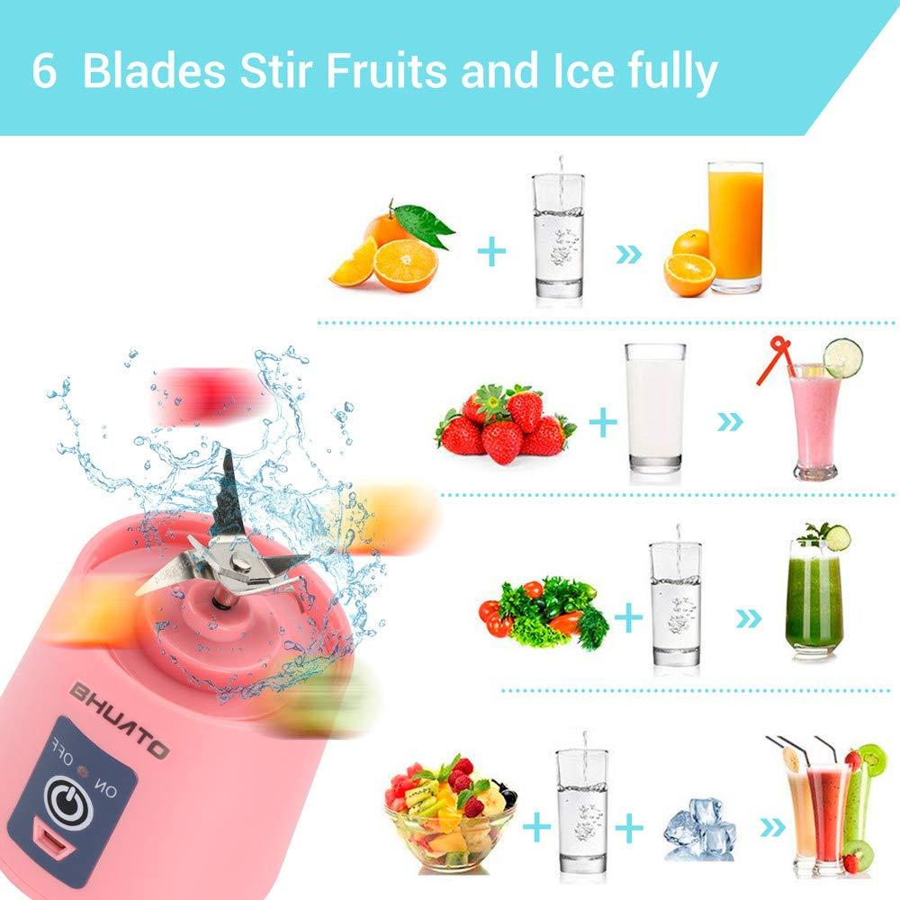 380ml Fruit Mixing Machine for Superb Mixing Upgraded Version Six Blades in 3D Household Fruit Mixer Portable Juice Blender Pink USB Juicer Cup by Huatop