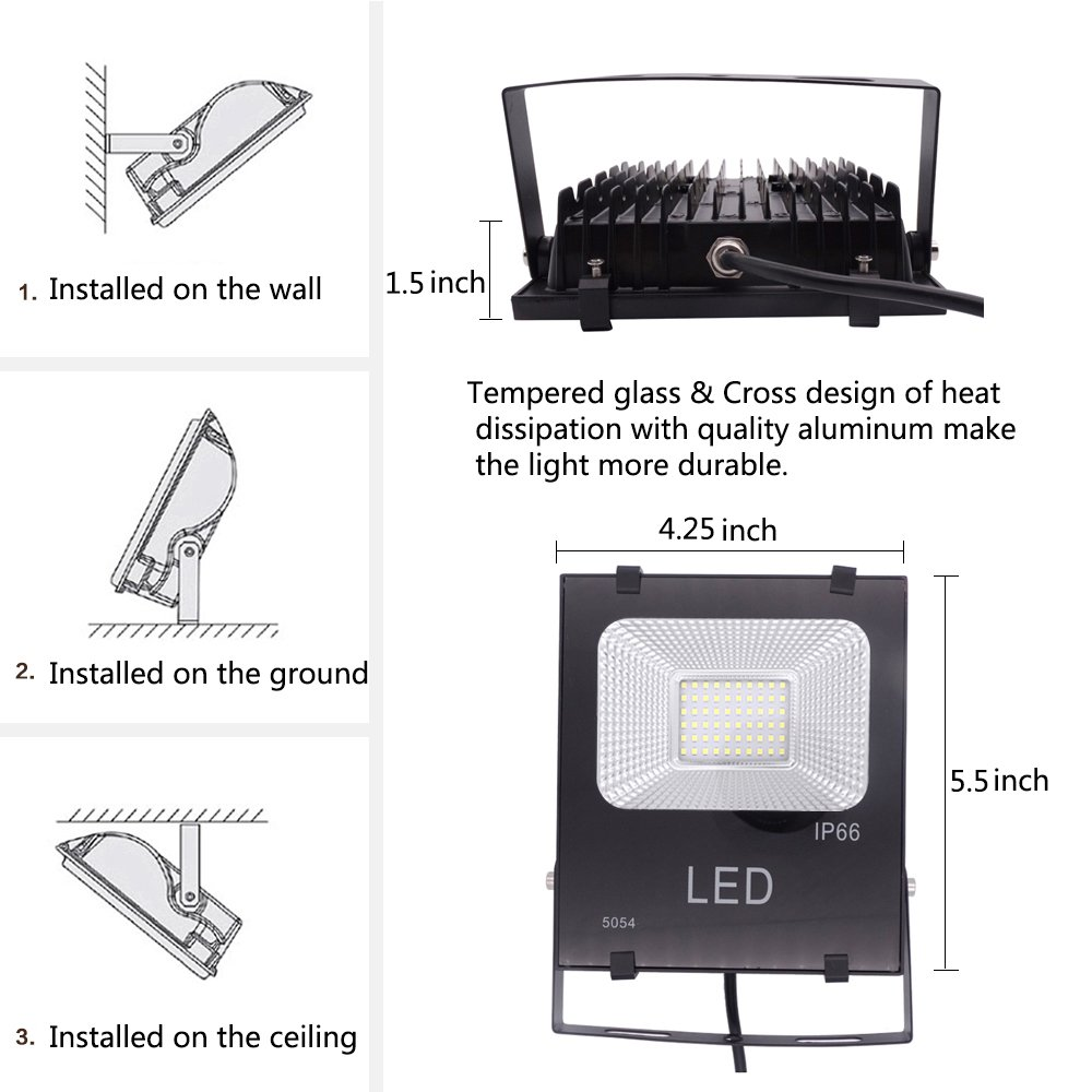 50W Equivalent LED Flood Work Light Outdoor 10W Garden,Playground,Basketball Court,2 Pack ,900lm 6000K Daylight White,IP66 Waterproof,4ft Cord US-3 Plug Yoke Mount,Super Bright Security,Yard,Garage