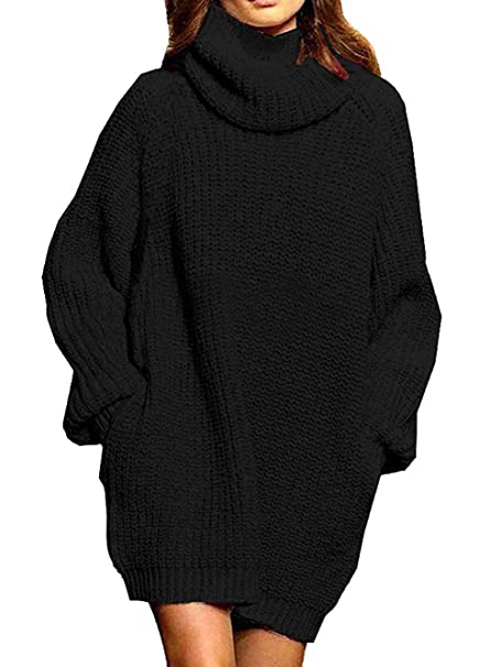 Sweater Dress for Women Turtleneck Cashmere Knit Oversized Pullover Baggy Tops