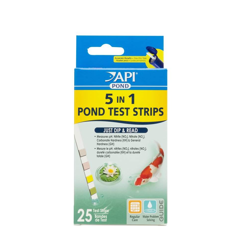 API POND 5 IN 1 POND TEST STRIPS Pond Water Test Strips 25-Count PondCare 164F