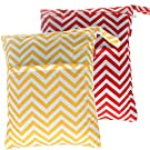 Damero 2pcs Pack Cute Travel Baby Wet and Dry Cloth Diaper Organizer Bag( Large, Red Chevron+Yellow Chevron)