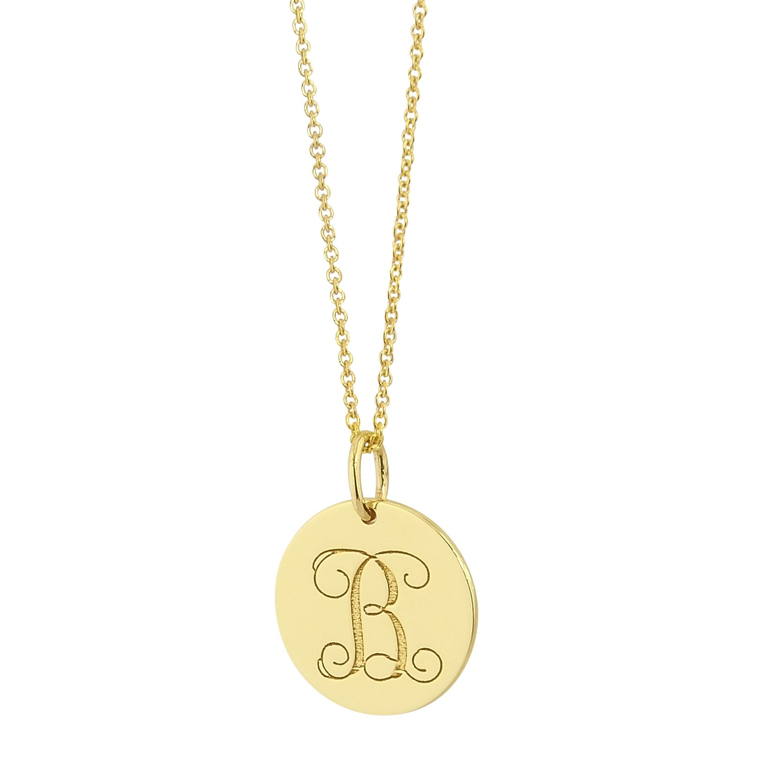 Dainty small 1/2'' Monogram Initial Disc Pendant Solid 14K Yellow Gold Laser Engraved GC05 (18)