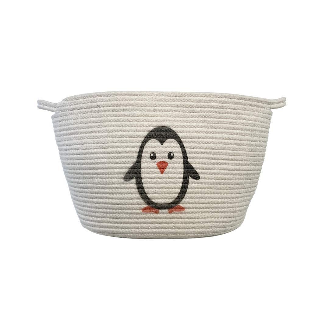 Cute Printed Penguin Nursery Rope Basket Woven Storage Basket/Cotton Laundry Hamper Large - 11