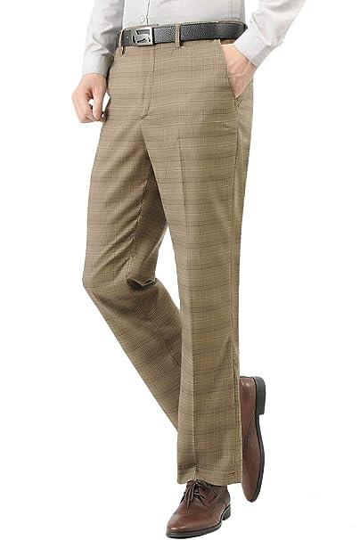 Hanayome Mens Slim Fit 4-Pocket Brown Plaid Pants 2017 Fashion Suit Separate Dress