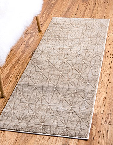 Unique Loom Uptown Collection by Jill Zarin Collection Geometric Modern Light Brown Runner Rug (2' 2 x 6' -