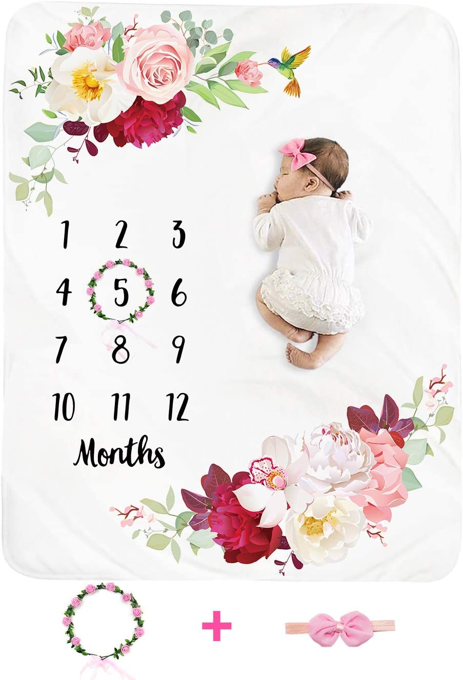 Baby Monthly Milestone Blanket Girl - Floral Newborn Month Blanket Personalized Shower Gift Soft Plush Fleece Photography Background Photo Prop Flower Blanket with Wreath Headband Large 51''x40''