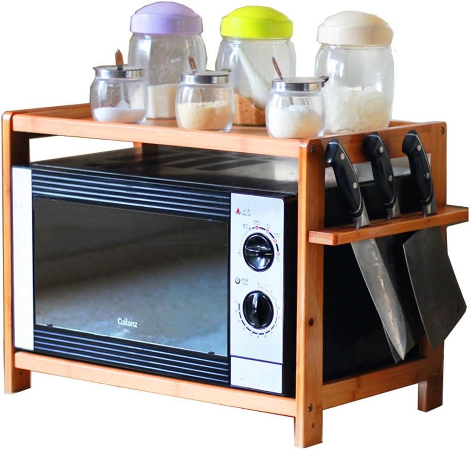 Estante de la cocina - Capas dobles Estante de almacenamiento de bambú / Parrillas del horno de microondas / Estante de almacenamiento de condimentos / Altura del piso ajustable ( Tamaño : 70cm )