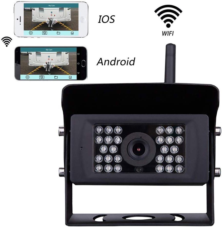 Cámara de Respaldo Podofo, cámara de Respaldo de visión Nocturna Impermeable y WiFi inalámbrica Compatible con iPhone/iPad y Android para remolques, vehículos recreativos, Camiones (guía Opcional)