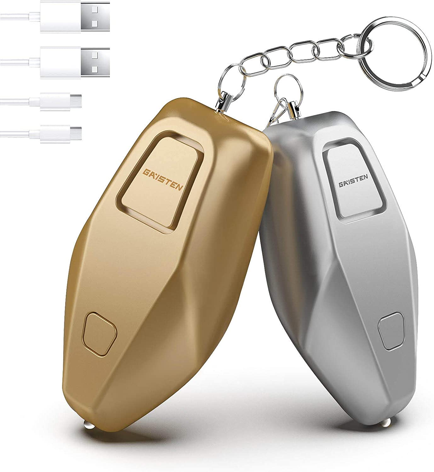 Upgraded Personal Alarm 140dB, Safety Alarm Keychain USB Rechargeable, Safe Sound Alarm with Steady LED Light, Pull Pin, Emergency Safe Alarm for Women, Kids, Elderly, Seniors, Runners 2 Packs