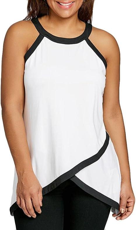 Jiangsu - Camiseta de tirantes para mujer, talla grande, cuello redondo, sin mangas, de algodón, sin mangas, tallas XL a 5XL, mujer, blanco, X-Large: Amazon.es: Deportes y aire libre