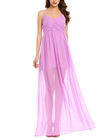 a22fb7011c ANGVNS Women s Deep V Neck Spaghetti Strap A-Line Maxi Long Evening Prom  Dress Fuchsia