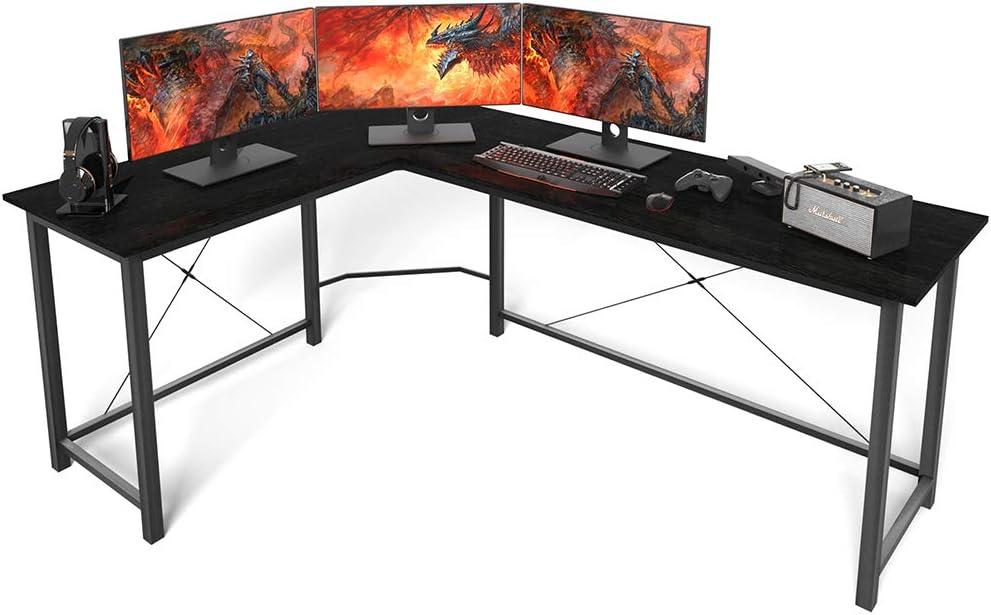 Amazon Com Coleshome L Shaped Gaming Desk Corner Computer Desk 66 Sturdy Home Office Computer Table Writing Desk Larger Gaming Desk Workstation Black Kitchen Dining