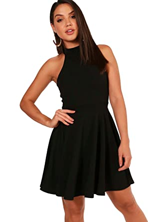 aa370f1dba4 Femmes Noir lottie robe patineuse à col montant - 14  Amazon.fr ...