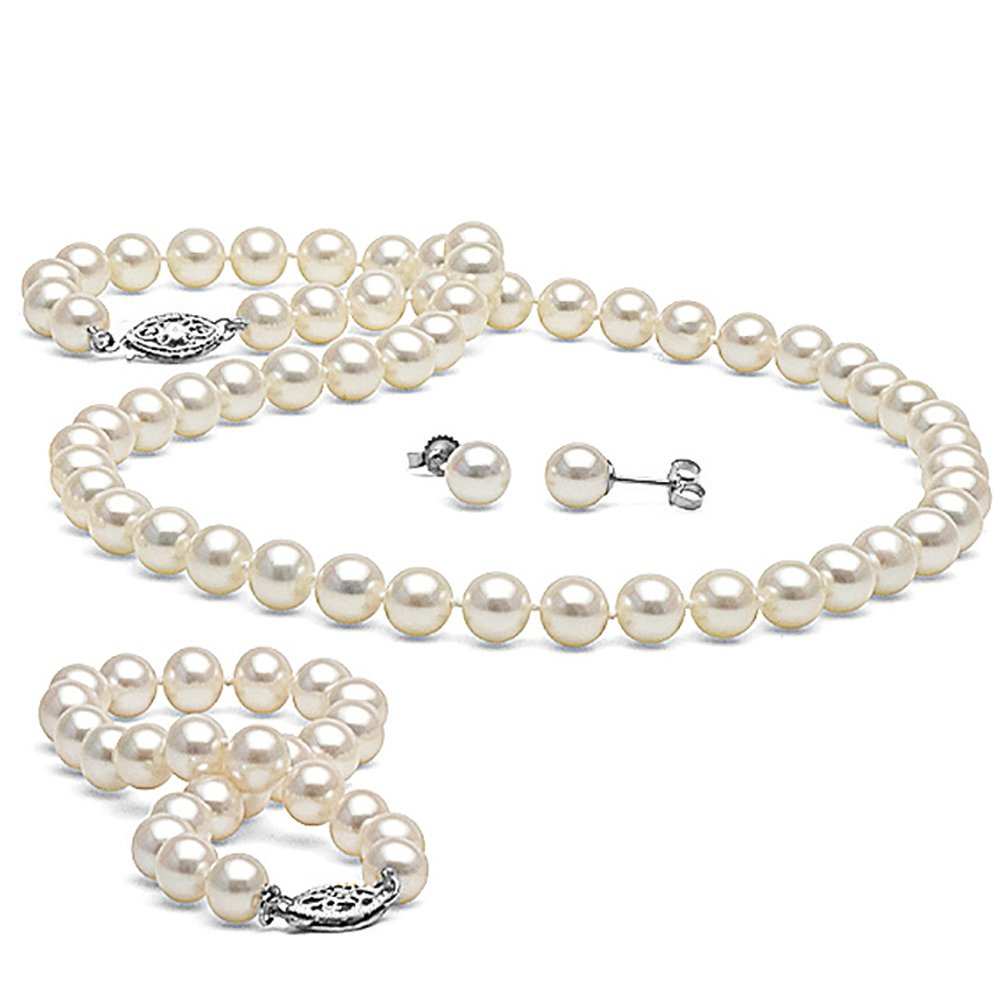 14K Cultured White Freshwater Pearl 3-Piece Jewelry Set, 6.0-7.0mm - AA+ Quality, 18-Inch Necklace, White Gold