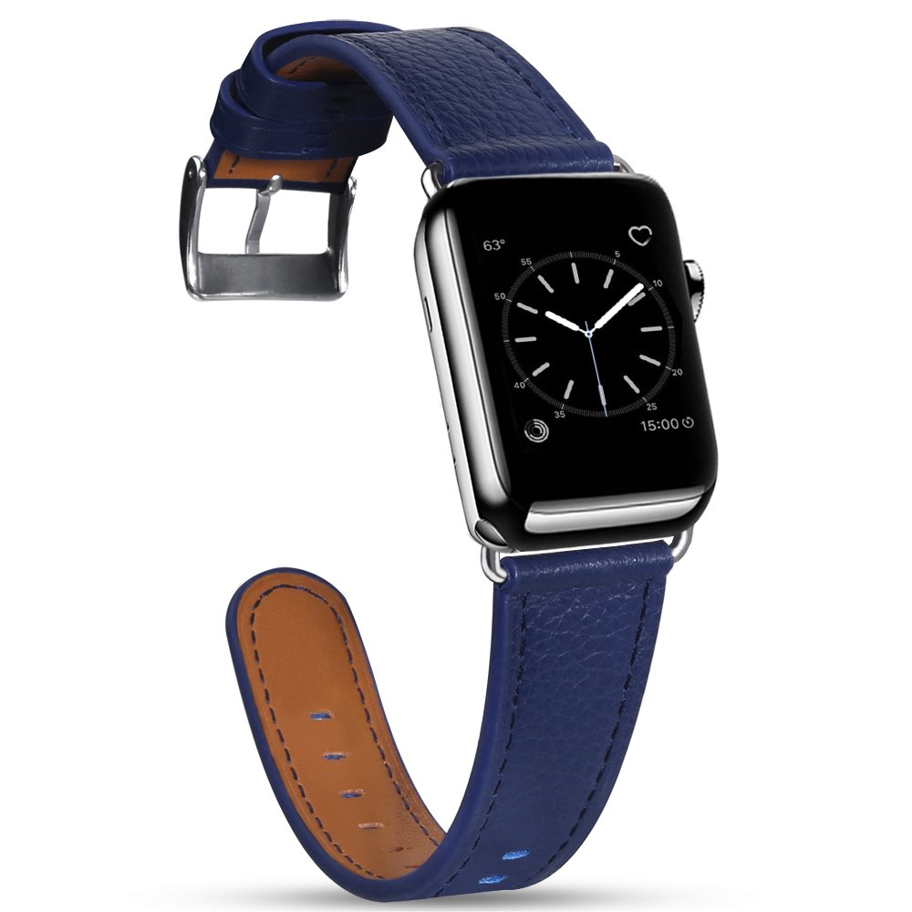 For Apple Watch Band, 42mm Marge Plus Genuine Leather iwatch Strap Replacement Band with Stainless Metal Clasp for Apple Watch Series 3 Series 2 Series 1 Sport and Edition,Dark Blue