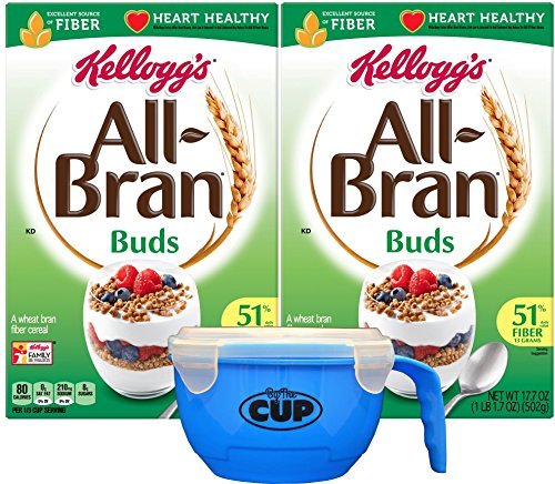 (By The Cup Cereal Bowl Bundle with Kellogg's All-Bran Buds Cereal, 17.7 Ounce Box (Pack of 2))