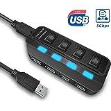 USB3.0ハブ USB3.0 AROMU 4ポートハブ 5Gbps高速 充電可能 独立スイッチ LED表示ランプ USB拡張 1メートルケーブル USB3.0高速ハブ アダプタ バスパワー 軽量 コンパクト