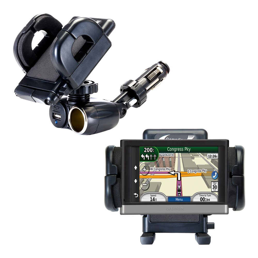 2 in 1 USB Port and 12V Receptacle Mount Holder for the Garmin nuvi 2557 / 2577 / 2597 LMT Keeps Your Device Secure in Any Car or Truck