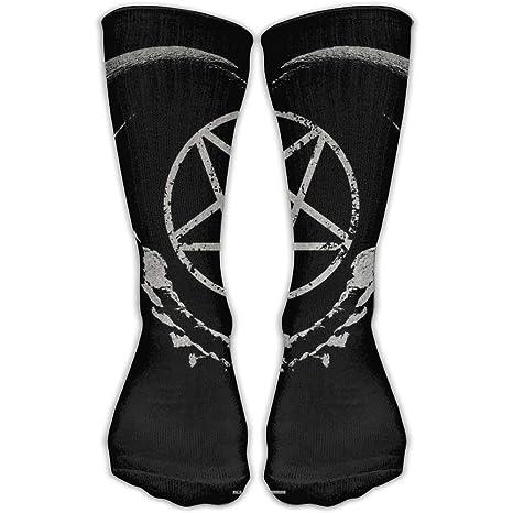 Calcetines Altos Womens Mens Classics Socks Gothic Occult Satan Penta Symbol Skull Athletic Stockings 60CM Long