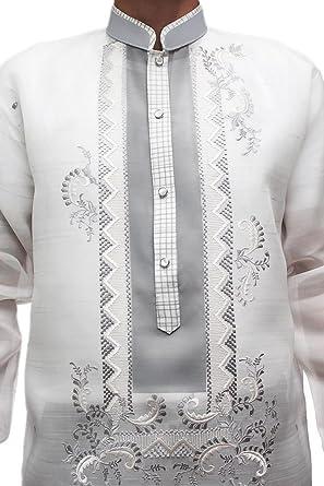 6115d3d6785 BW Filipino Jusi Pina Double-Collar Barong Tagalog 001 - Ivory -   Amazon.co.uk  Clothing