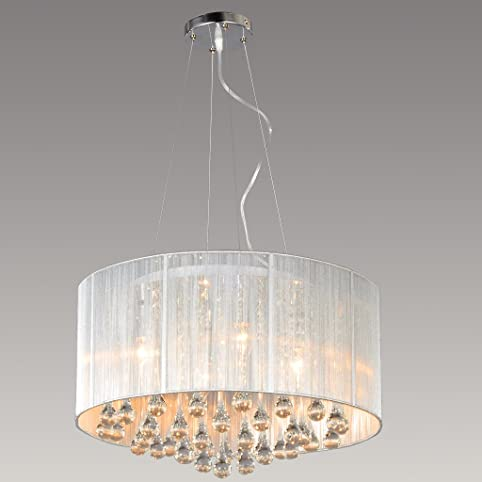 MASO HOME MC-29021 The Stylish Modern Silver Threads Shade Crystal ...