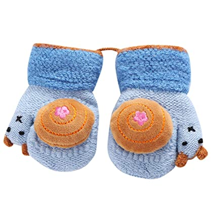 Toddler Baby Thicken Girls Boys Rope Full Finger Warm Knitted Mittens Gloves