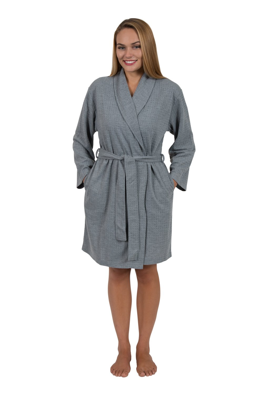 Love This Robe Women's Houndstooth Shawl-Collar Short Robe Travel Robe (XLarge, Slate Gray)