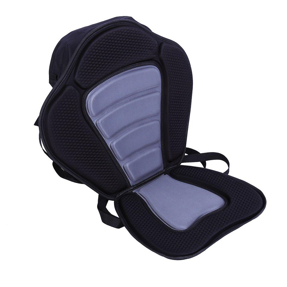 Estink Kayak Seat, New Deluxe Adjustable Padded Kayak Seat Back with Detachable Back Bag Canoe Backrest, Black