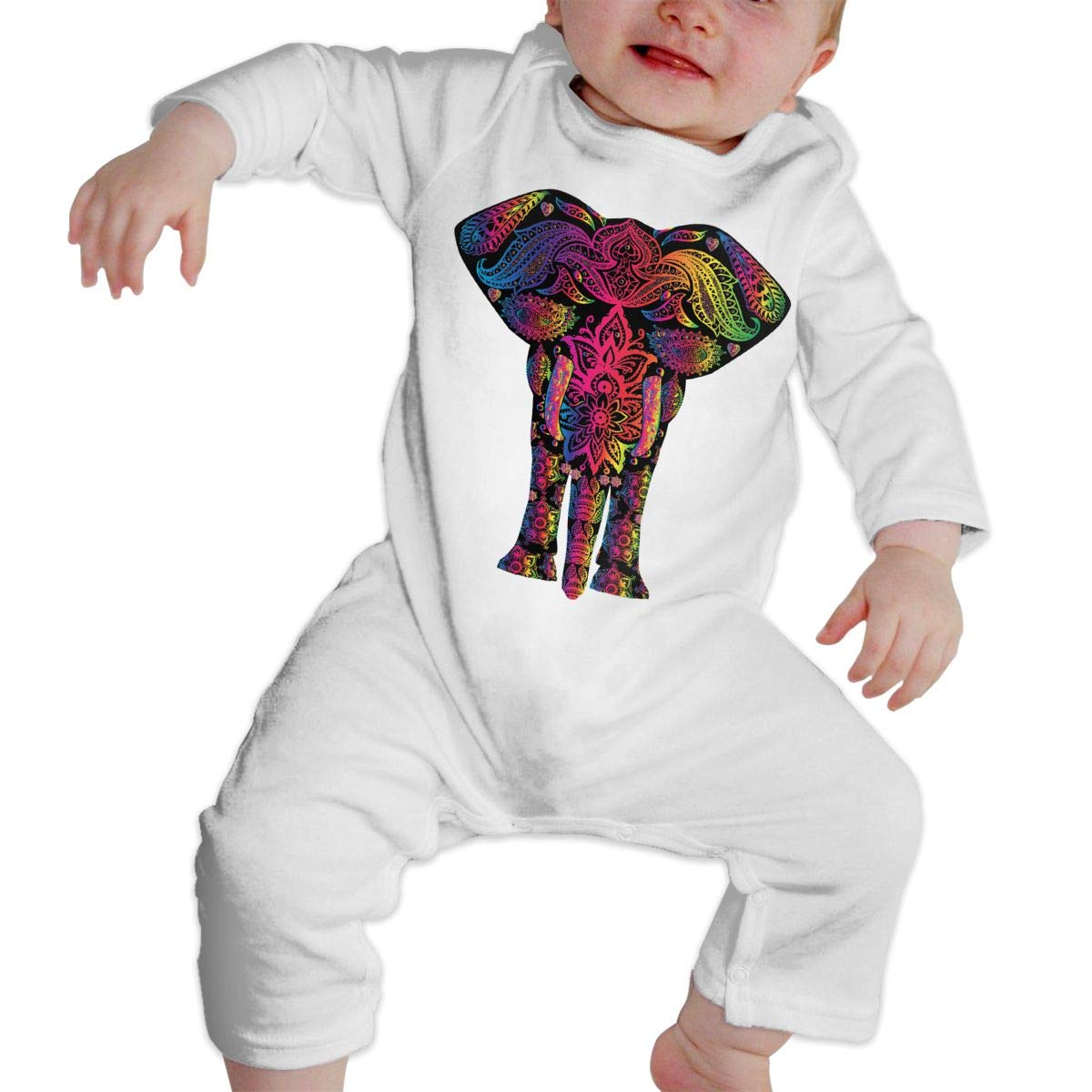Infant Baby Boys Girls Cotton Long Sleeve Rainbow Floral Pattern Elephant Climb Romper One-Piece Romper Clothes