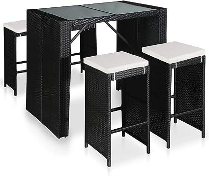 Vidaxl Set Da Bar Per Esterni 9 Pz In Polyrattan E Vetro Tavolo Sedie Giardino Amazon It Casa E Cucina