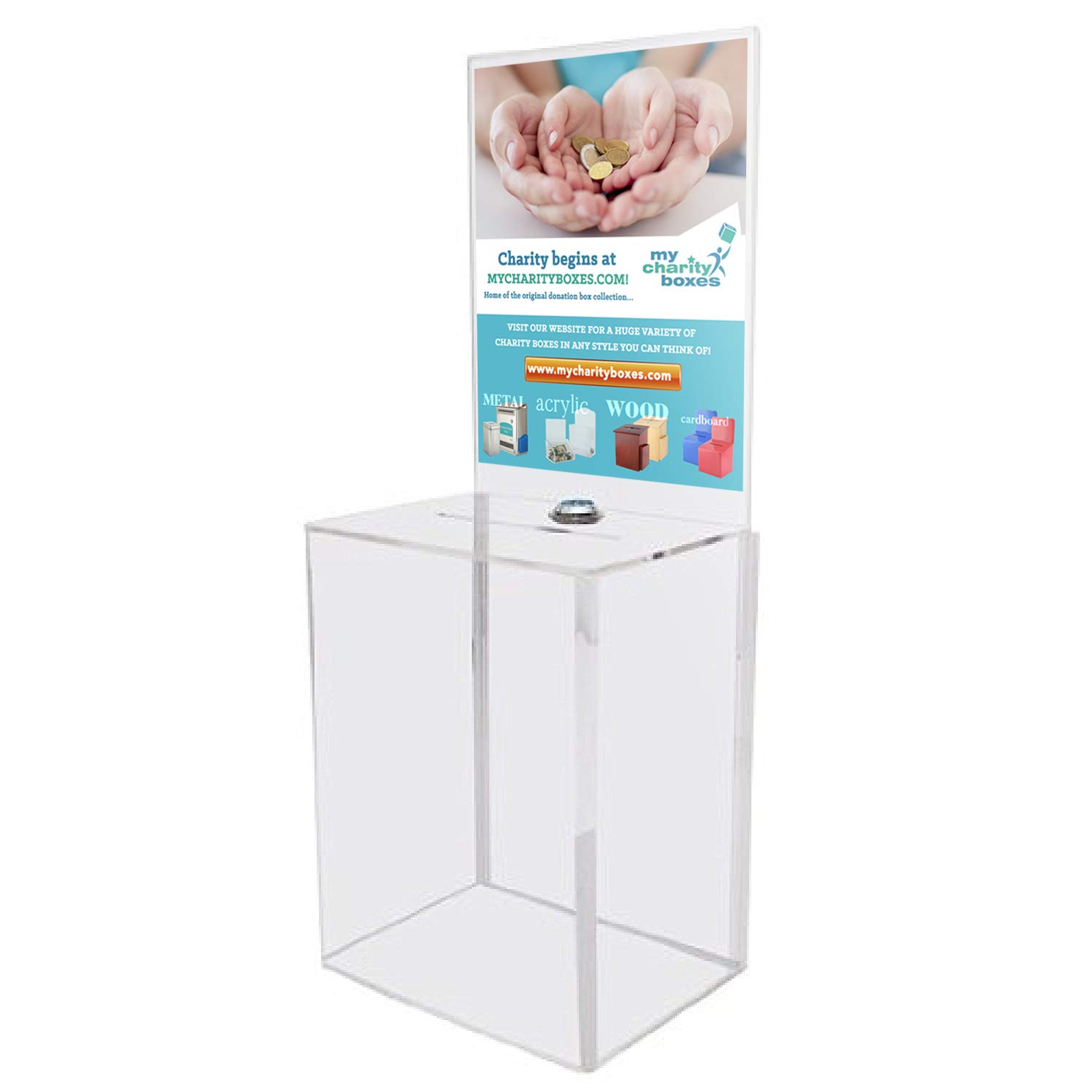 My Charity Boxes - Large Donation Box - Ballot Box - Suggestion Box - Acrylic Box - Tip Box- with Large Display Area by My Charity Boxes