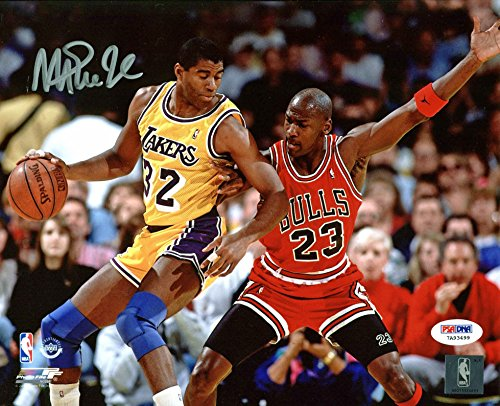Lakers Magic Johnson Authentic Signed 8X10 Photo w/ Michael Jordan PSA/DNA ITP 2