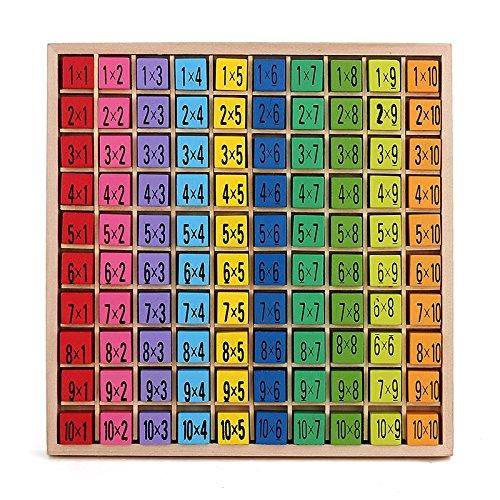 Yigooood Math Baby giocattolo in legno 99moltiplicazione Math Toy 10x 10blocchi precoce educativo Montessori Toy