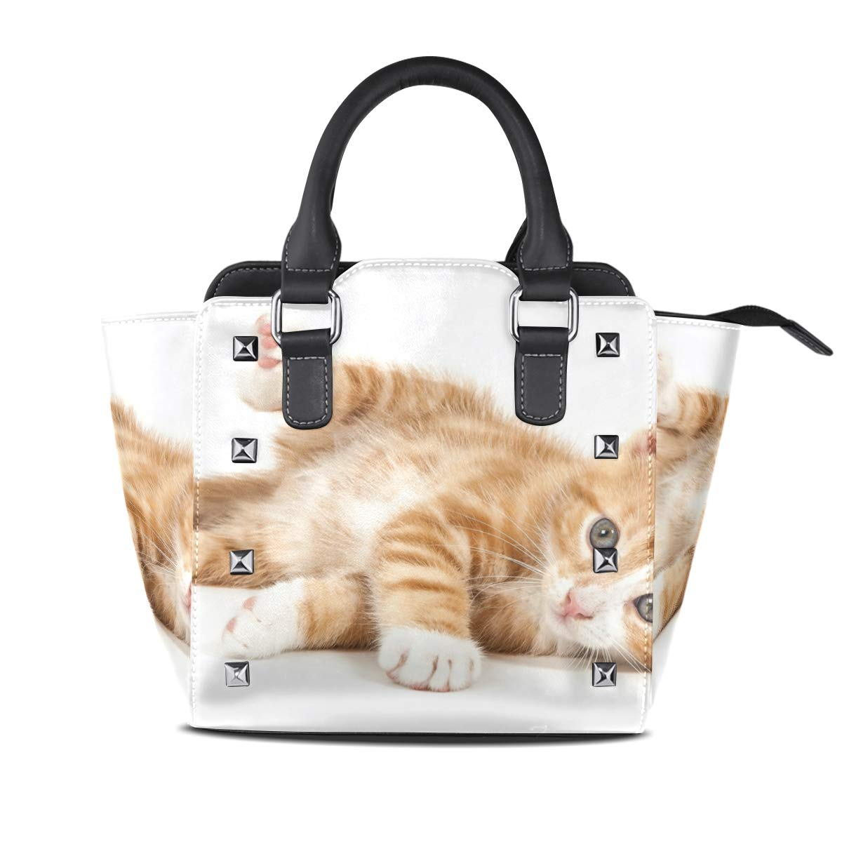 Design 5 Handbag Lazy Cat Licking The Sun On Ground Genuine Leather Tote Rivet Bag Shoulder Strap Top Handle Women