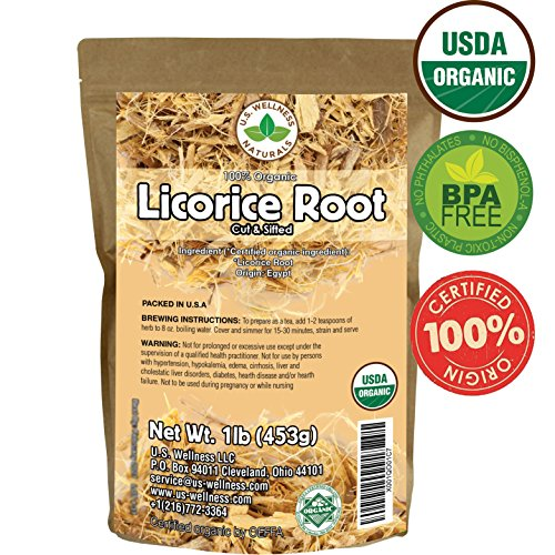 Licorice Root Tea 1LB (16Oz) 100% Certified Organic Licorice Root Cut and Sifted (Glycyrrhiza glabra), in 1 lbs. Bulk Resealable Kraft BPA Free Bags from U.S. Wellness Naturals by U.S. Wellness Naturals