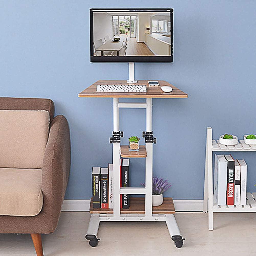 Movable Laptop Desk Adjustable Sofa Tablet Over Bed Desk Computer Workstation Rolling Study PC Laptop Table for Home Office (Adjustable Height: 71-110cm/27.9-43.3in)
